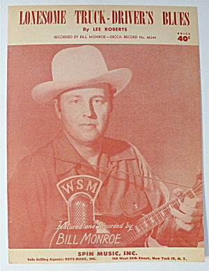 Sheet Music For 1951 Lonesome Truck Driver's Blues