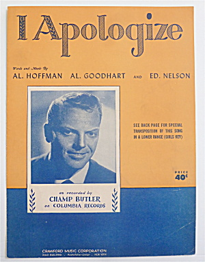 Sheet Music For 1931 I Apologize