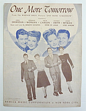 Sheet Music For 1945 One More Tomorrow