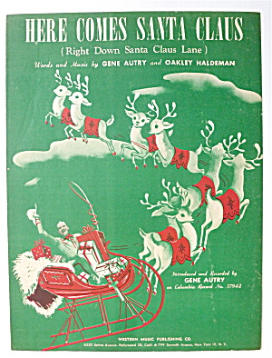 Sheet Music For 1948 Here Comes Santa Claus