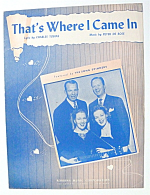 Sheet Music For 1946 That's Where I Came In