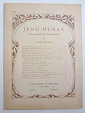 Sheet Music For 1909 Jeno Hubay