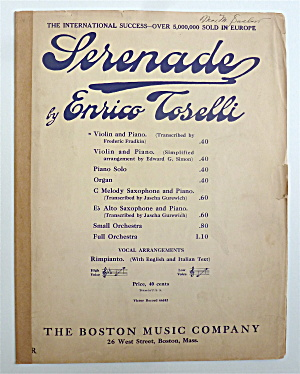 Sheet Music For 1923 Serenade By Enrico Toselli