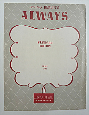 Sheet Music For 1925 Irving Berlin's Always