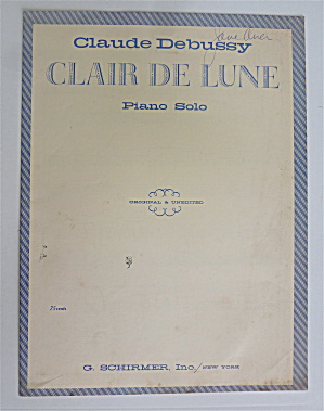 Sheet Music For 1950's Clair De Lune