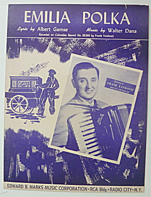 Sheet Music For 1951 Emilia Polka