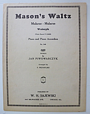 Sheet Music For 1939 Mason's Waltz