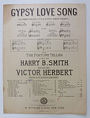 Sheet Music For 1898 Gypsy Love Song