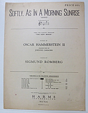 Sheet Music For 1947 Softly, As In A Morning Sunrise