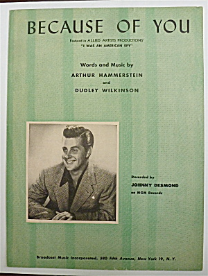 Sheet Music For 1940 Because Of You