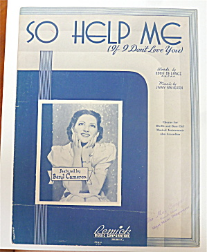 Sheet Music 1938 So Help Me (If I Don't Love You)