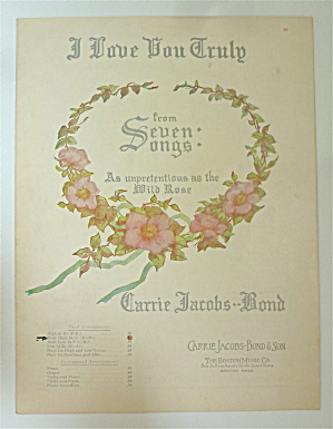 Sheet Music For 1906 I Love You Truly