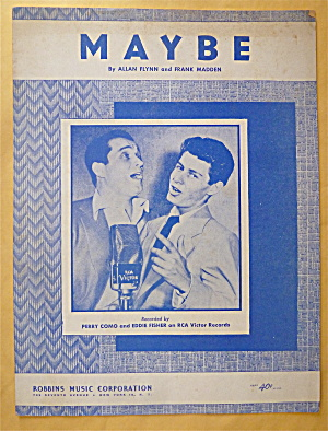 Sheet Music For 1935 Maybe (Perry Como & Eddie Fisher)