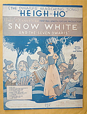 Sheet Music 1937 Heigh-ho (The Dwarfs' Marching Song)