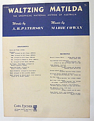 Sheet Music For 1941 Waltzing Matilda  (Image1)