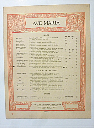 Sheet Music For Undated Ave Maria