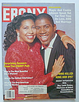 Ebony Magazine-april 1992-magic & Cookie Johnson