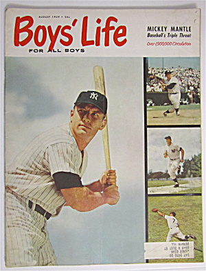 Boys Life Magazine August 1959 Mickey Mantle