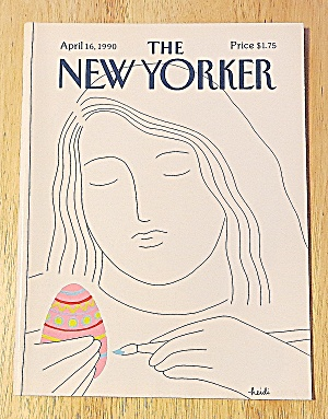 New Yorker Magazine April 16, 1990 Girl Painting Egg