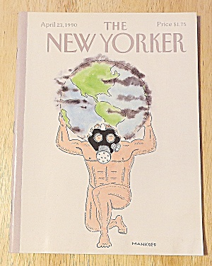New Yorker Magazine April 23, 1990 Man Holding World (Image1)