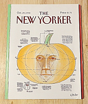New Yorker Magazine October 29, 1990 Pumpkin With Face