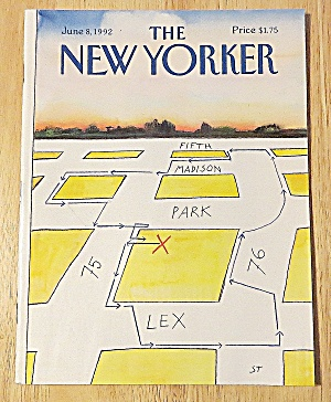 New Yorker Magazine June 8, 1992 Map W/ Directions (Image1)