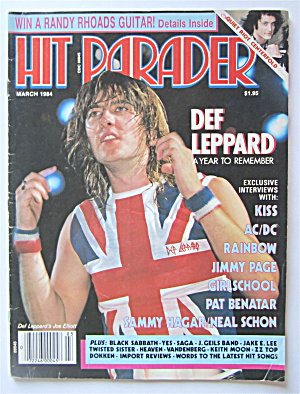 Hit Parader Magazine March 1984 Def Leppard