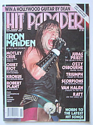 Hit Parader Magazine November 1984 Iron Maiden