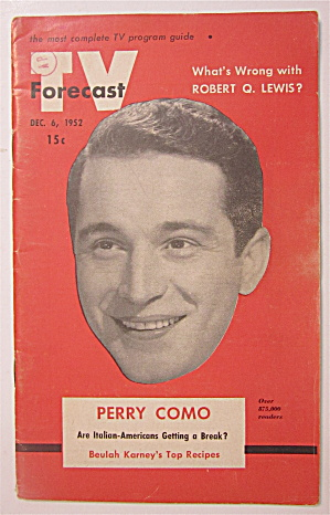 Tv Forecast December 6, 1952 Perry Como
