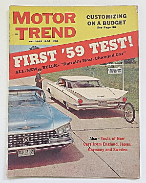 Motor Trend Magazine October 1958 First 1959 Test