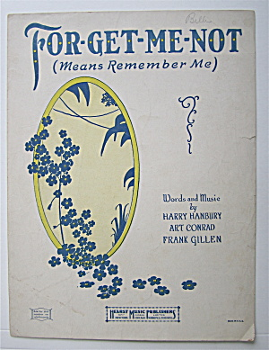 Sheet Music 1924 Forget Me Not (Means Remember Me)