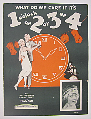 Sheet Music 1925 What Do We Care If It's 1 O'clock
