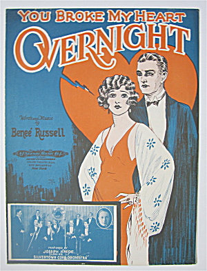 Sheet Music 1926 You Broke My Heart Overnight