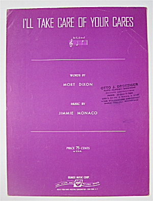 Sheet Music 1927 I'll Take Care Of Your Cares