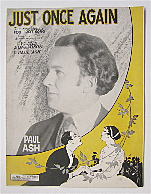 Sheet Music 1927 Just Once Again (Paul Ash Cover)