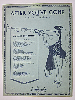 Sheet Music 1929 After You've Gone