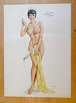 Alberto Vargas Pin Up Girl October 1965 Maid With Phone
