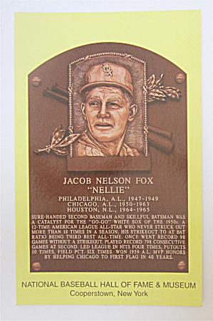 Nellie Fox Hall Of Fame Cooperstown Plaque Postcard