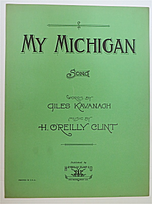 Sheet Music For 1933 My Michigan Song