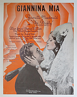 1940 Giannina Mia Sheet Music W/ Jeanette Macdonald