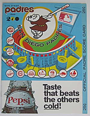 1969 Official Padres Vs Phillies Scorecard