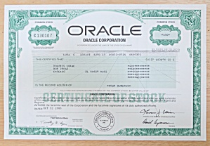 2000 Oracle Corporation Stock Certificate