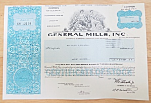 1989 General Mills Incorporated Stock Certificate