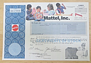 1994 Mattel Incorporated Stock Certificate