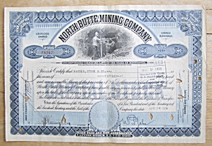 1929 North Butte Mining Company Stock Certificate