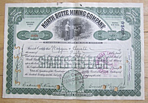 1907 North Butte Mining Company Stock Certificate