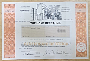 1994 The Home Depot Inc Stock Certificate