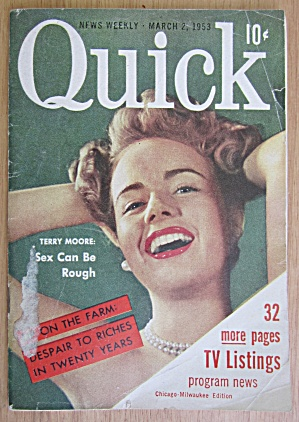 Quick Magazine March 2, 1953 Terry Moore