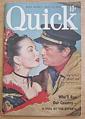 Quick Magazine September 22, 1952 Ann Blyth & Greg Peck (Image1)