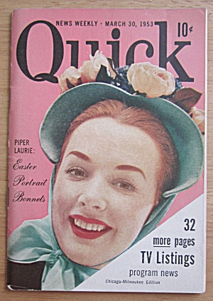 Quick Magazine March 30, 1953 Piper Laurie